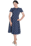 Hey Viv ! Madden Tea Dress in Navy & White by Hell Bunny