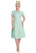 Hey Viv ! Madden Tea Dress in Mint Green & White by Hell Bunny