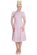 Hey Viv ! Madden Tea Dress in Pink & White by Hell Bunny
