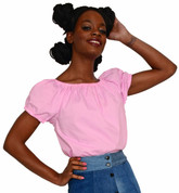 Pink Peasant Blouse - Boho, Hippie, Sock Hop, Rockabilly Pin Up