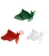 Sheer Square Chiffon Scarves - Red, Green and White Scarves