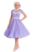 Melanie Polka Dot Dress in Lilac & White by Hell Bunny
