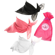 Scarf Set - Sock Hop - Black, Pink and White Sheer Chiffon Fashion Scarves