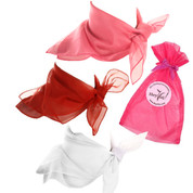 Scarf Set - Sugar & Spice - Pink, Red, White Sheer Chiffon Scarves in Organza Bag