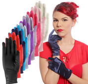 Satin Dress Gloves in Vibrant Colors - Wrist Length