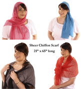 "Sheer Long Chiffon Fashion Scarf - 21"" x 65"""