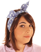 Retro Polka Dot Headband Scarf in Blue