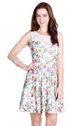 Garden Floral Fit & Flare Dress w/ Lace Panel