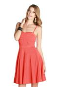 Swing Skirt Skater Cocktail Dress w/ Mesh Accents - Orange