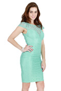 Sweetheart Lace Overlay Pencil Dress in Mint Green