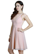 Lace Shoulder Cocktail Dress in Powder Pink