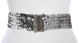 Hey Viv Sequin cinch belt in silver