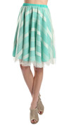 Geometric Stripe Full Skirt in Mint Green & Cream (Front)
