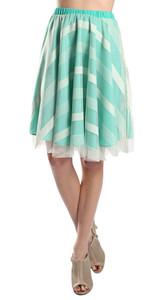 Geometric Stripe Full Skirt in Mint Green & Cream (Front)