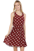 Heart Dress - Burgundy