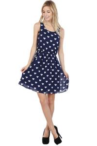 Heart Dress - Navy Blue