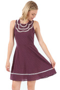Polka Dot Blossom Dress - Eggplant - by Doe & Rae