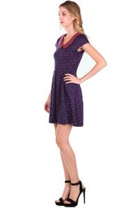 Hey Viv ! Polka Dots & Bows Knit Dress w/ Striped Collar in Navy Blue & Pink by Doe & Rae