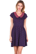 Hey Viv ! Polka Dots & Bows Knit Dress w/ Striped Collar in Navy Blue & Pink by Doe & Rae