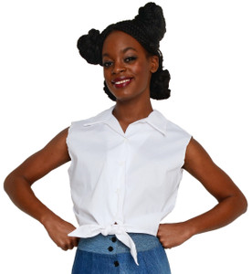 Hey Viv ! Retro Sleeveless Tie Front Blouse in White