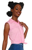Hey Viv ! Retro Sleeveless Tie Front Blouse in Pink