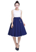 Hey Viv ! Navy Blue Full Skirt with White Contrast Trim