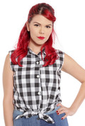 Hey Viv ! Retro Sleeveless Tie Front Blouse in Black & White Checks