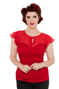 Voodoo Vixen Alyssa Top in Red - Hey Viv !
