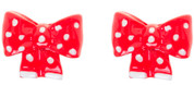 Red & White Polka Dot Bow Stud Earrings