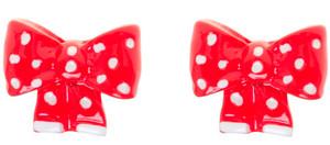 Red & White Polka Dot Bow Stud Earrings
