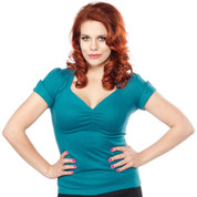 Sourpuss Sugar Sweater Top in Dark Teal - Hey Viv !