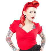 Sourpuss Sugar Sweater Top in Red - Hey Viv !