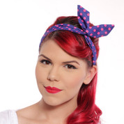 Retro Polka Dot Headband Scarf in Navy Blue w/ Pink Dots