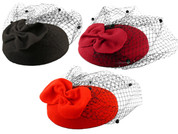 Hey Viv ! Rounded Pillbox Fascinator Hat w/ Bow & Veil