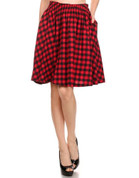 Flare Skirt - Red Check Cotton