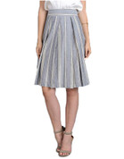 Flare Skirt - Light Blue Stripe Cotton