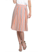 Peach Stripe Cotton Flare Skirt