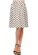 Semi Sheer White Polka Dot Flare Skirt