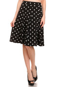 Flare Skirt - Blue Polka Dot - Stretchy Knit