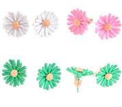 Daisy Post Earrings in Mint, Pink, White