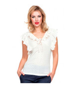 Cream Ruffle Knit Maria Top by Voodoo Vixen