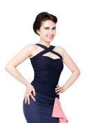 Halter Top in Navy Blue - Hug Your Curves by Putre Fashion