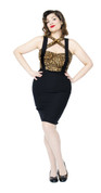 Black Suspender Pencil Skirt - Show off Your Curves - Size Small to XL