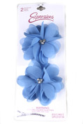 Sheer Flower Hair Clips w Rhinestones