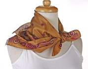 Vintage Burmel Square Fashion Scarf - Silk Blend - Caramel Brown