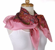 Vintage Burmel Square Fashion Scarf - Silk Blend - Pink Feathers