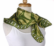 Vintage Burmel Square Fashion Scarf - Silk - Leaf Green