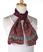 Vintage Burmel Long Fashion Scarf - Silk Blend - Purple Orient