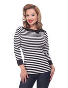 Striped Boatneck Bow Top - in Black and White by Steady