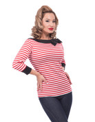 Striped Boatneck Bow Top - in Red and White by Steady